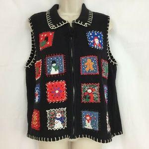 Erika Christmas Sweater Vest Large Zip Up Vintage